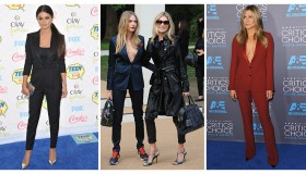 Selena Gomez, Cara Delevingne + Jennifer Aniston show three ways to wear the pant suit. Photo: Shutterstock.com/PR Photos/Shutterstock.com