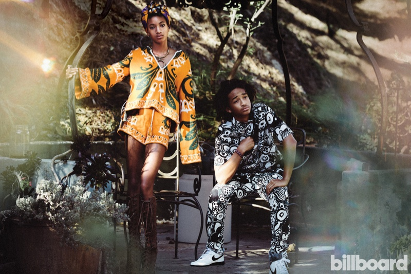Willow and Jaden Smith are both known for their unique fashion sense, and pose in Billboard Magazine.