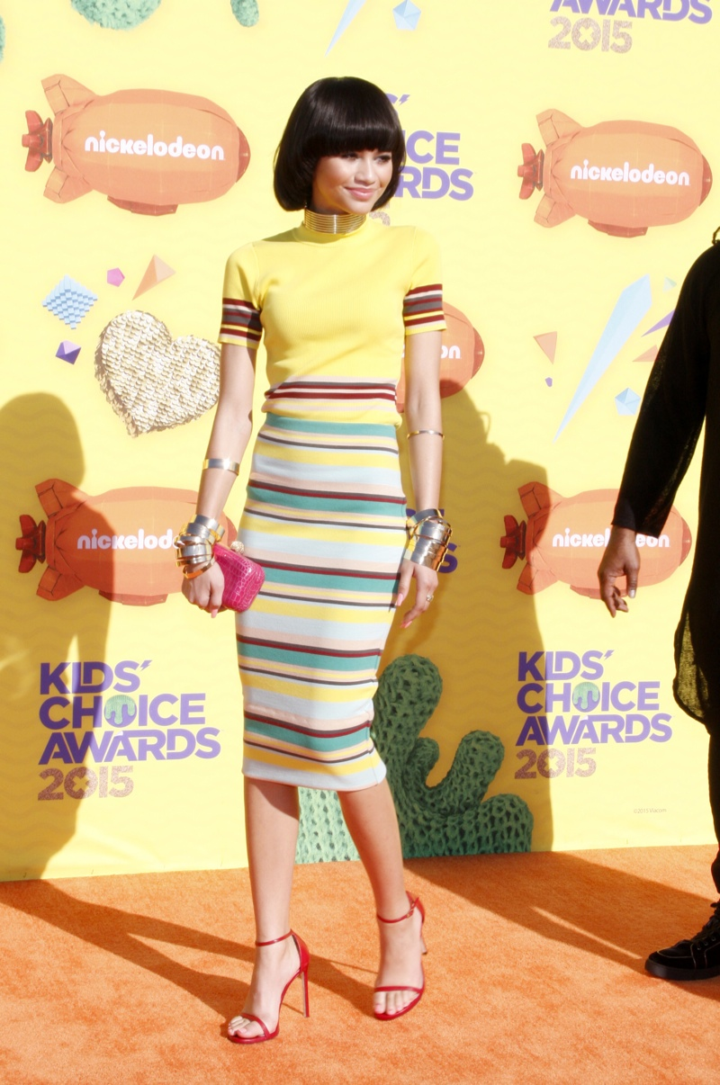 Zendaya was spotted in a yellow DKNY top with a high-waisted striped skirt. Photo: David Gabber / PRPhotos.com