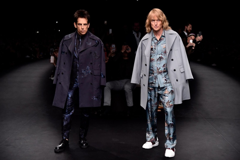 Ben Stiller and Owen Wilson walk the Valentino fall-winter 2015 show as their characters from 'Zoolander'. Image via Paramount.