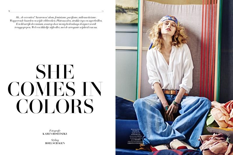 Rosa models 70s inspired looks for L'Officiel Netherlands