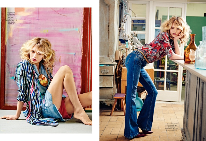 The Blonde Rocks Denim Looks For Shoot