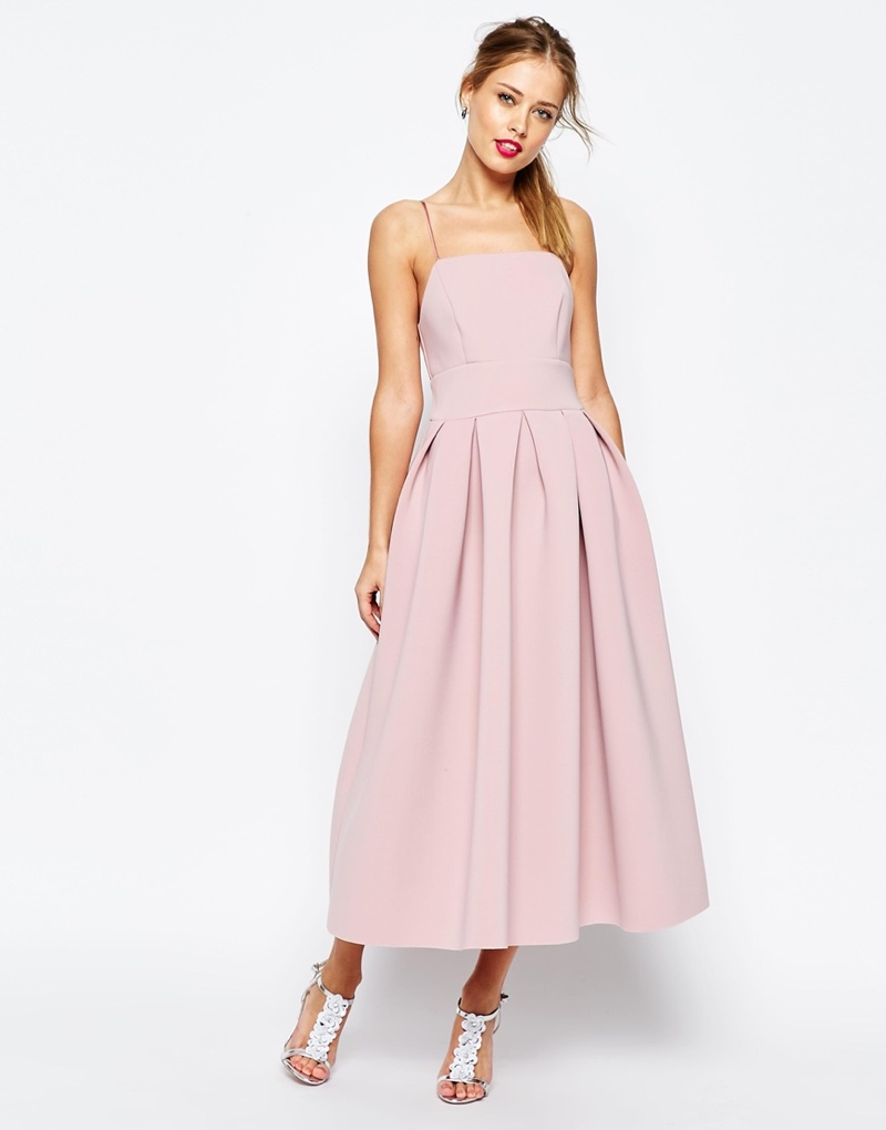 ASOS Salon Strappy Piny Pink Midi Prom Dress