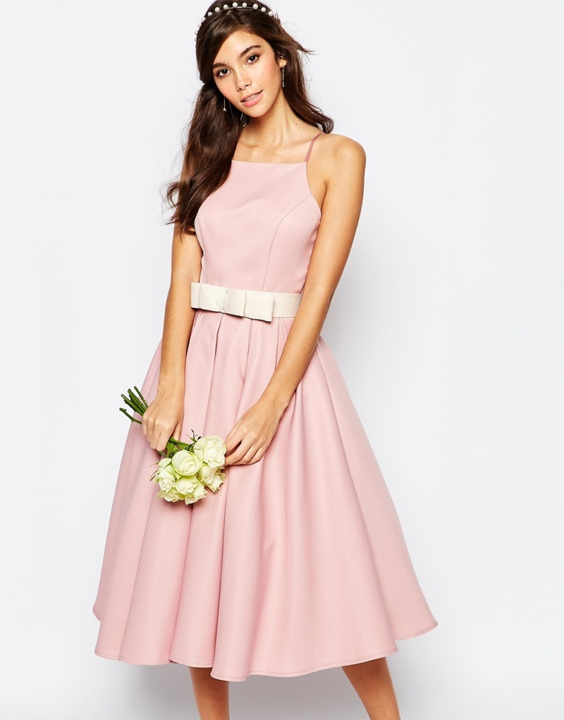 Chi Chi London Pink High Neck Prom Dress with Full Skirt