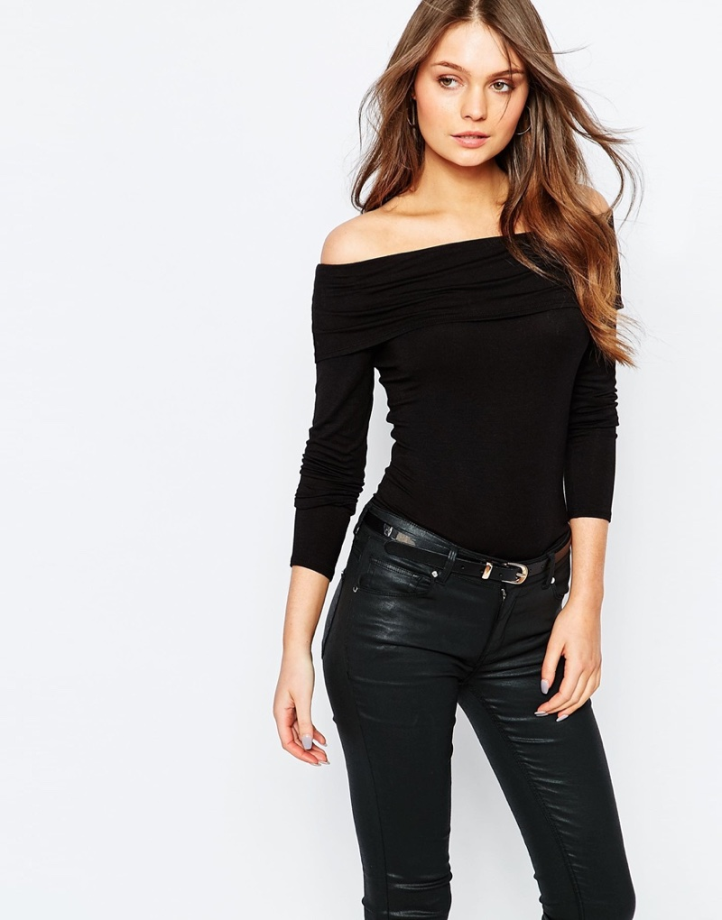 New Look Black Bardot Top