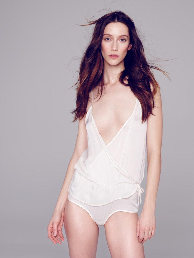 Alana models a white camisole