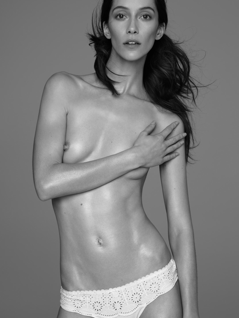 Alana Zimmer goes topless in black and white