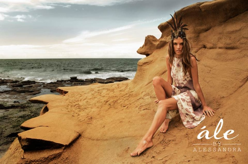 The Victoria's Secret Angel poses on the beaches of San Diego for the lookbook