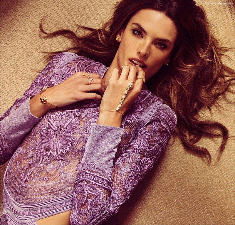 Alessandra looks pretty in purple for this image