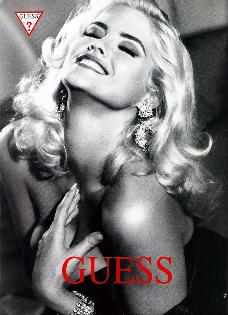 The late Anna Nicole Smith shot to fame thanks to her turn as a Guess campaign model. The buxom beauty channeled the timeless glamour of another blonde bombshell--Marilyn Monroe.