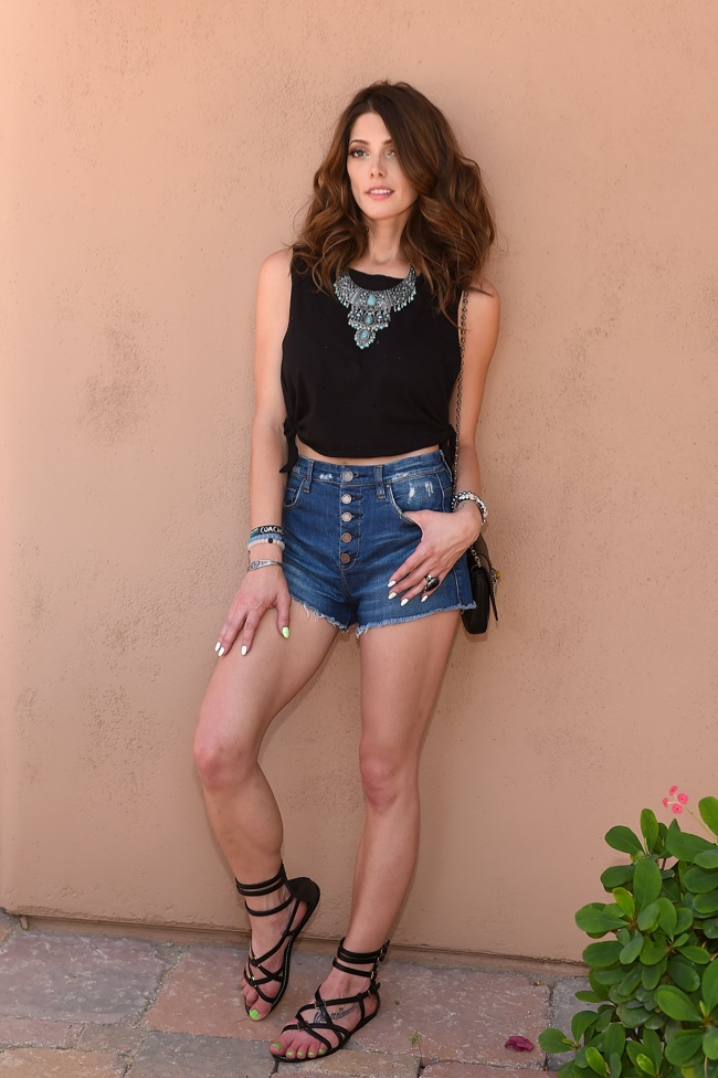 Ashley Greene sports a denim look and black tank at Coachella. Photo: Stefanie Keenan/Getty Images for Forever 21