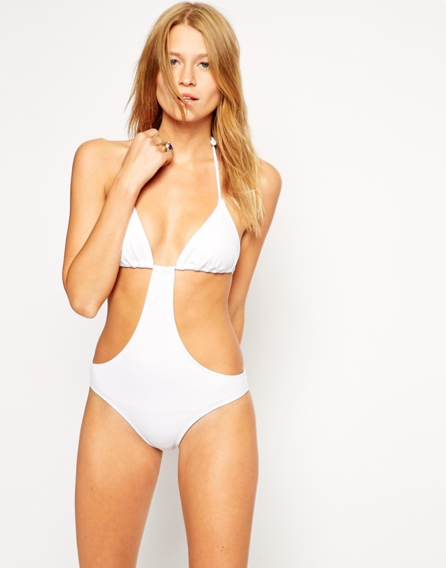 ASOS Triangle Cut Out Swimsuit available for $40.00
