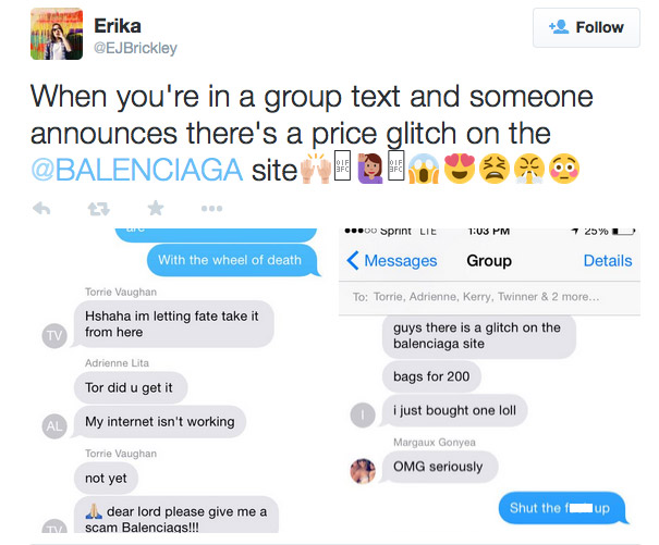 A Twitter user shares the news of the Balenciaga website glitch.