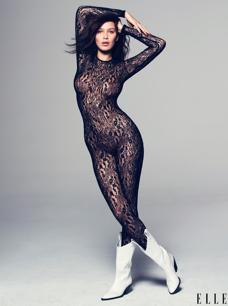 Bella goes sheer in a lace bodysuit from Fleur Du Mal.