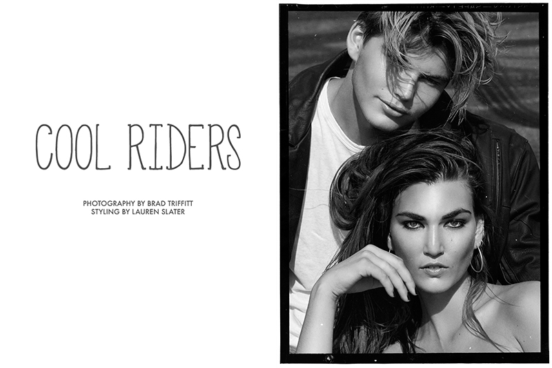 Tallulah Morton and Jordan Barrett star in 'Cool Riders' photographed by Brad Triffitt