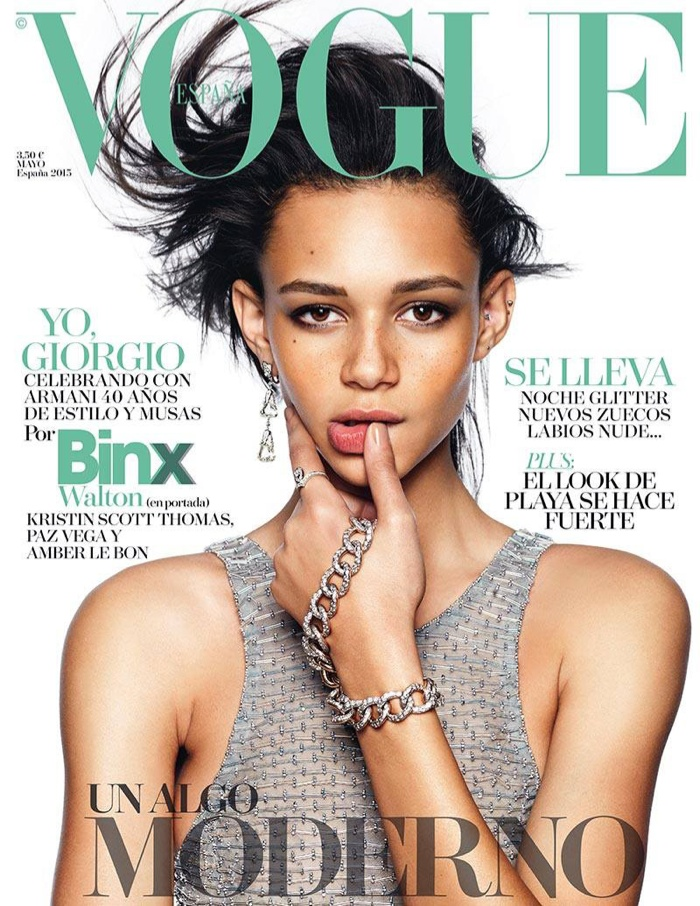 Binx Walton lands her first Vogue cover for the May 2015 issue of Vogue Spain shot by Nico