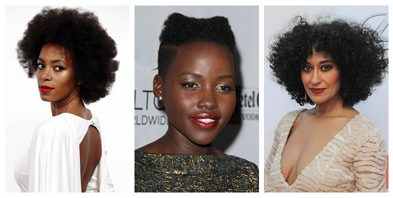 Solange Knowles, Lupita Nyong'o and Tracee Ellis Ross are all black celebrities who embrace natural hairstyles. Photo: Shutterstock.com / PR Photos