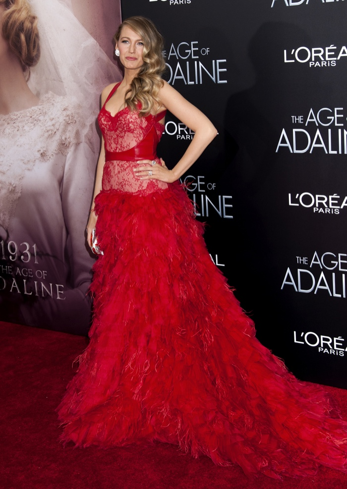 Blake Lively wears a Monique Lhuillier dress at 'The Age of Adaline' New York premiere. Photo: Janet Myer / PRPhotos.com