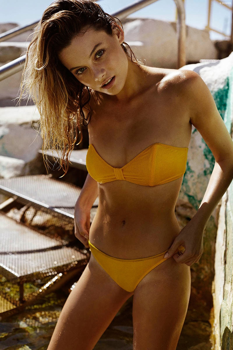 Model Matilda Jo Price looks ready for swim season in Bower's new collection.