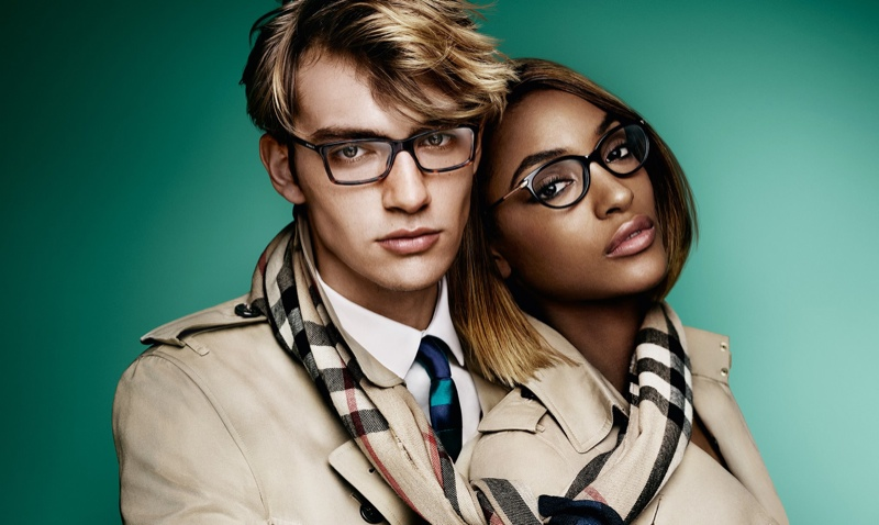 Jourdan Dunn and George le Page pose in spring Burberry optical styles.