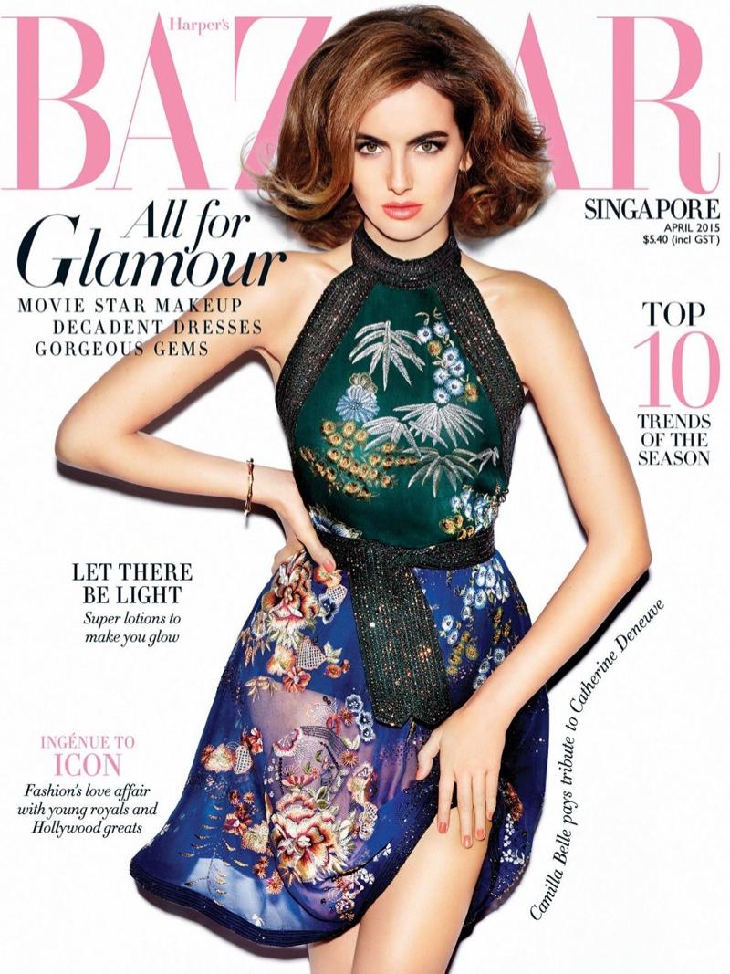 Camilla Belle graces the April 2015 cover of Harper's Bazaar Singapore.