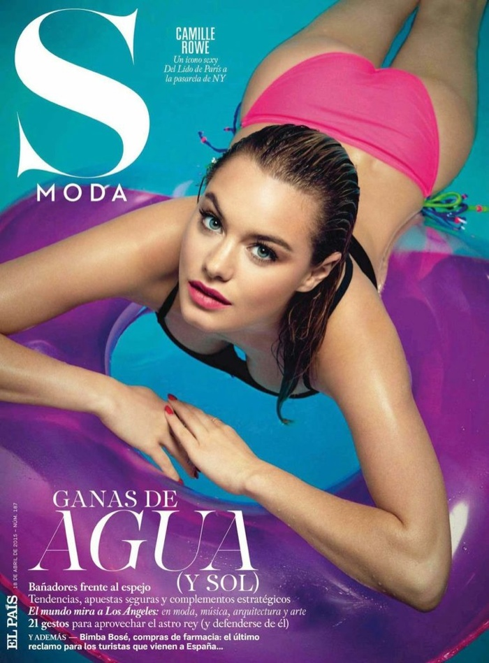 Camille Rowe takes a dip in the pool for S Moda April 18, 2015, cover