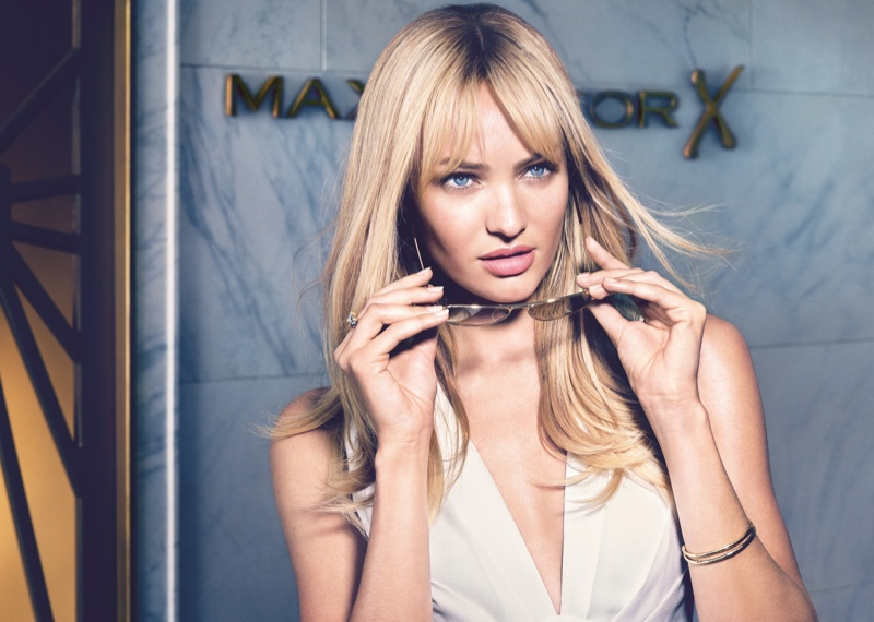 In another Max Factor ad, Candice puts on some shades for a modern Hollywood look.