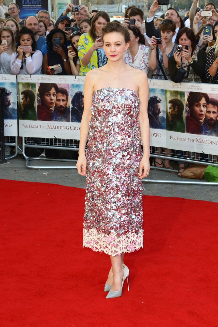 Carey Mulligan sparkles in Dior Haute Couture dress at 'Far From The Madding Crowd' London premiere. Photo: Landmark / PRPhotos.com