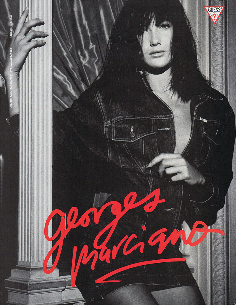 One of the top models of the 80's and 90's, Carla Bruni starred in a Guess 1987 advertisement wearing an amazing denim look. Carla would later go on to be the First Lady of France. But that hasn't stopped her from modeling. In 2017, she walked the runway for Versace in a supermodel reunion.