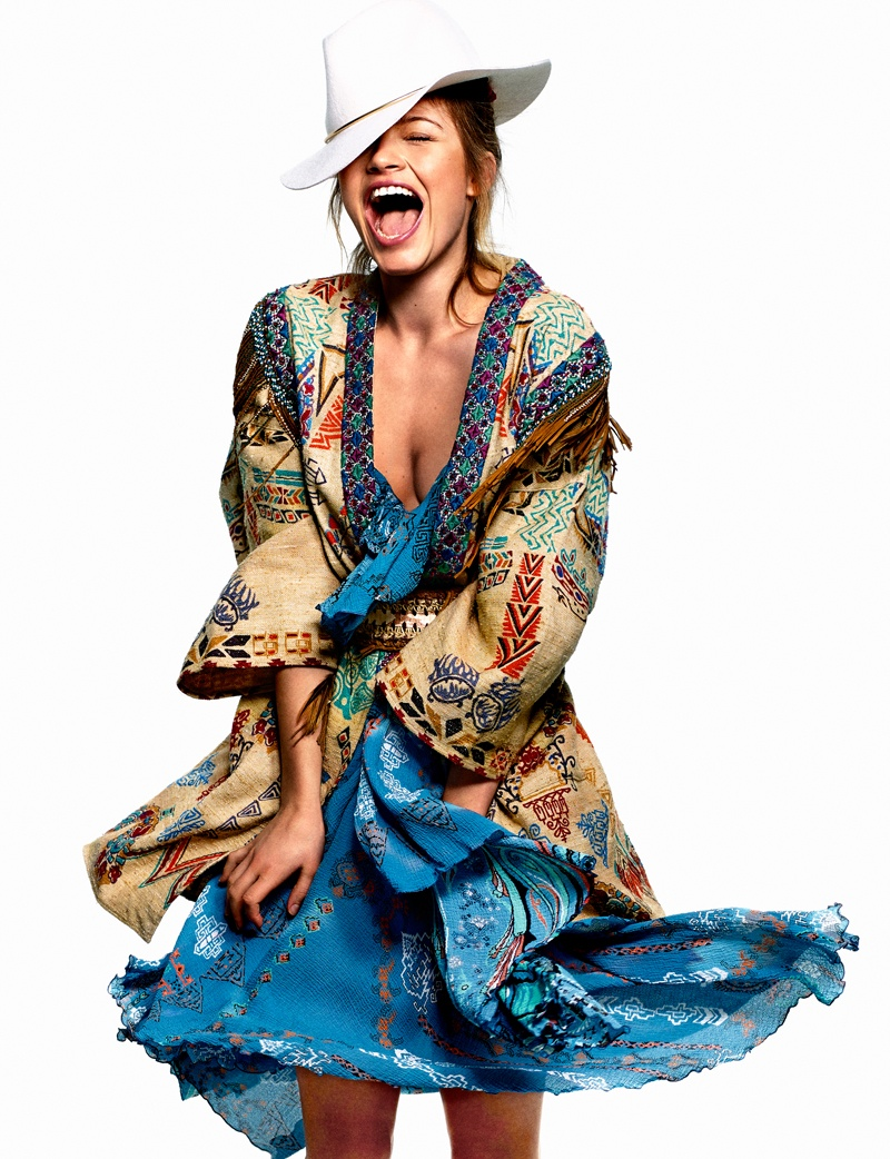 Caroline Corinth Wears Colorful Prints for Elle Spain