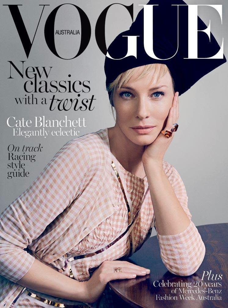 Cate Blanchett graces the April 2015 cover of Vogue Australia wearing Bottega Veneta