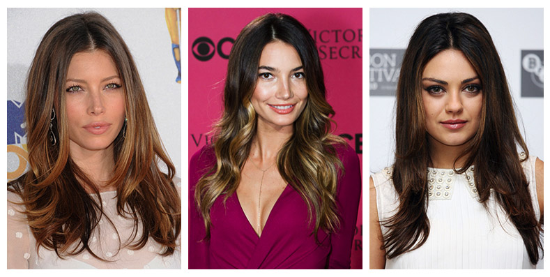 Balayage Highlights On Celebrities Balayage On Dark Hair