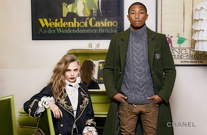 Cara and Pharrell pose with a fusion of Austrian and Parisian style