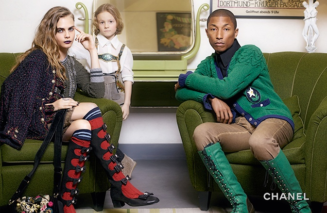 Cara and Pharrell rock Austrian style footwear for Chanel's latest
