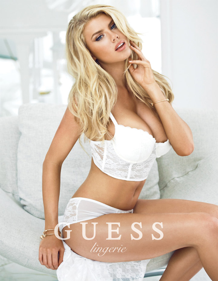 Charlotte McKinney wears all white lingerie in new Guess campaign