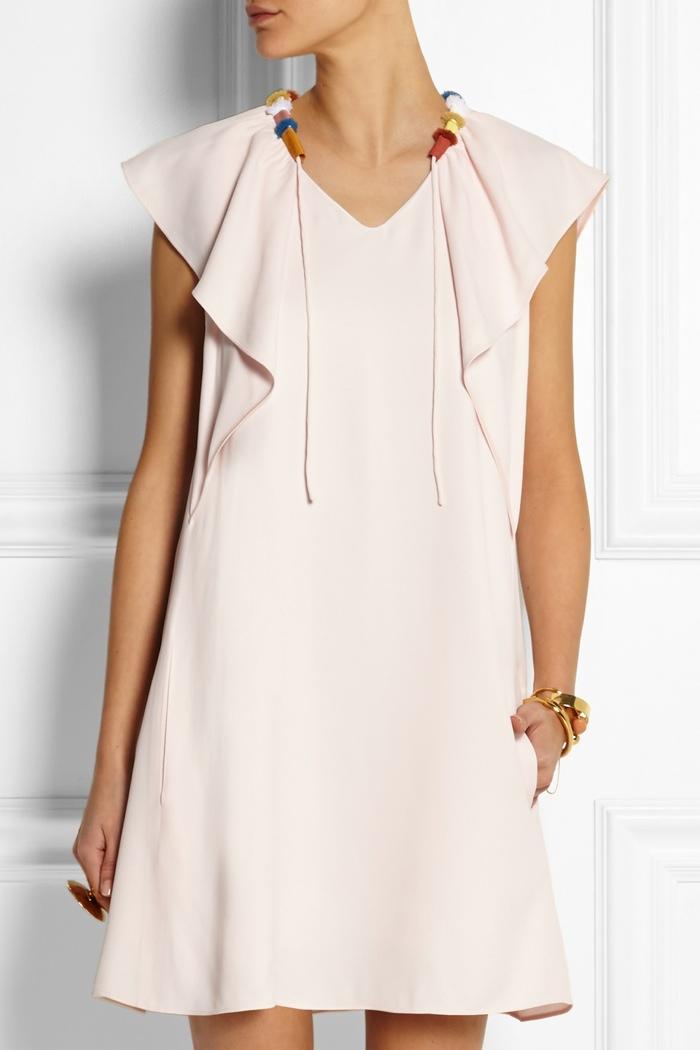 Chloé Grosgrain trimmed ruffled cady dress available for $1,585