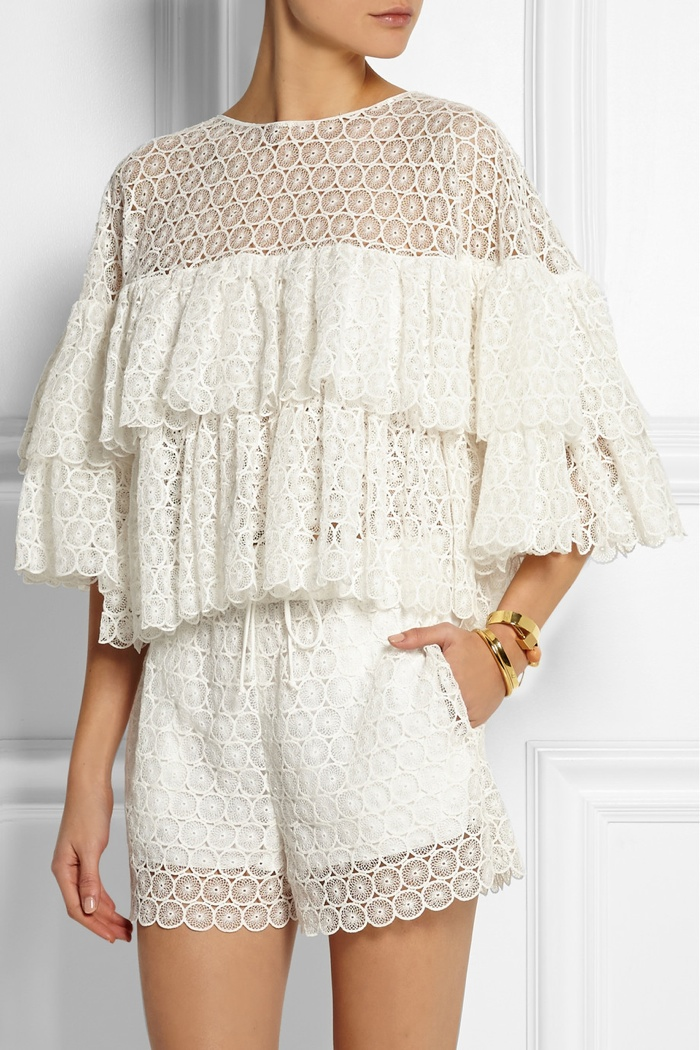 Chloé Ruffled crocheted lace top available for $3,180