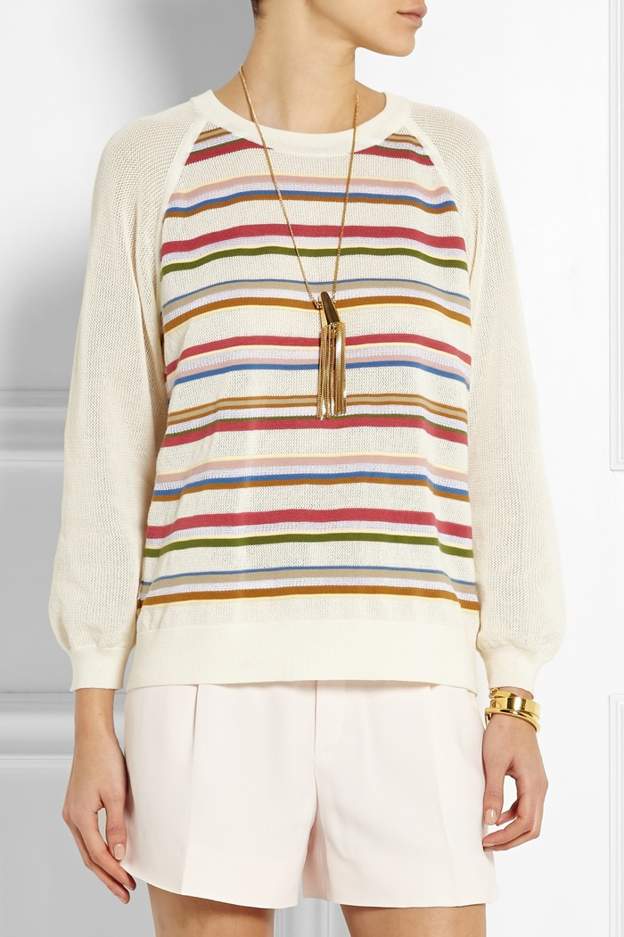 Chloé Striped cotton blend sweater available for $1,060