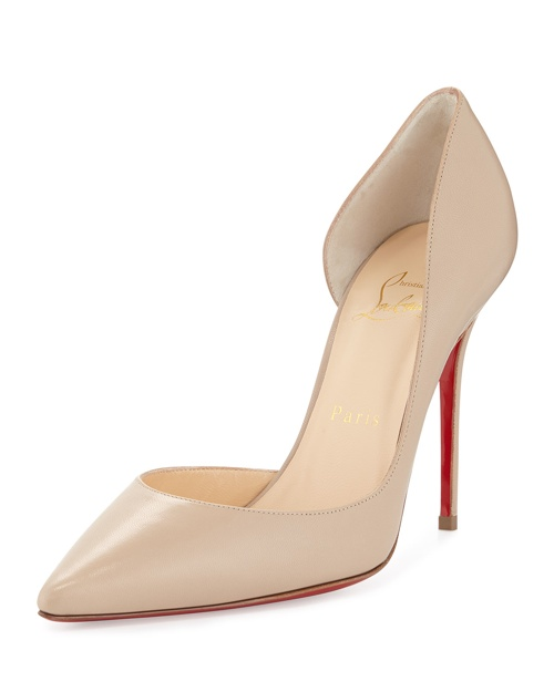 Christian Louboutin Iriza Half d'Orsay Leather Red Sole Pump, Blush #1 available for $675.00