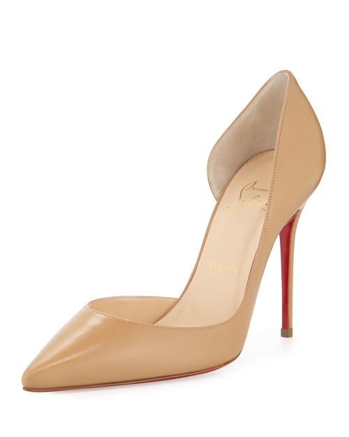 Christian Louboutin Iriza Half d'Orsay Leather Red Sole Pump, Blush #2 available for $675.00
