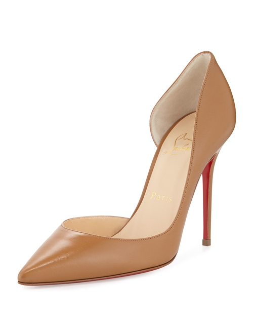 Christian Louboutin Iriza Half d'Orsay Leather Red Sole Pump, Blush #3 available for $675.00