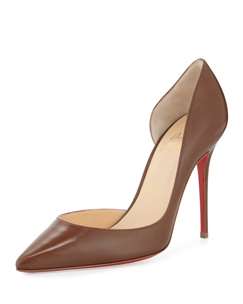 Christian Louboutin Iriza Half d'Orsay Leather Red Sole Pump, Blush #5 available for $675.00