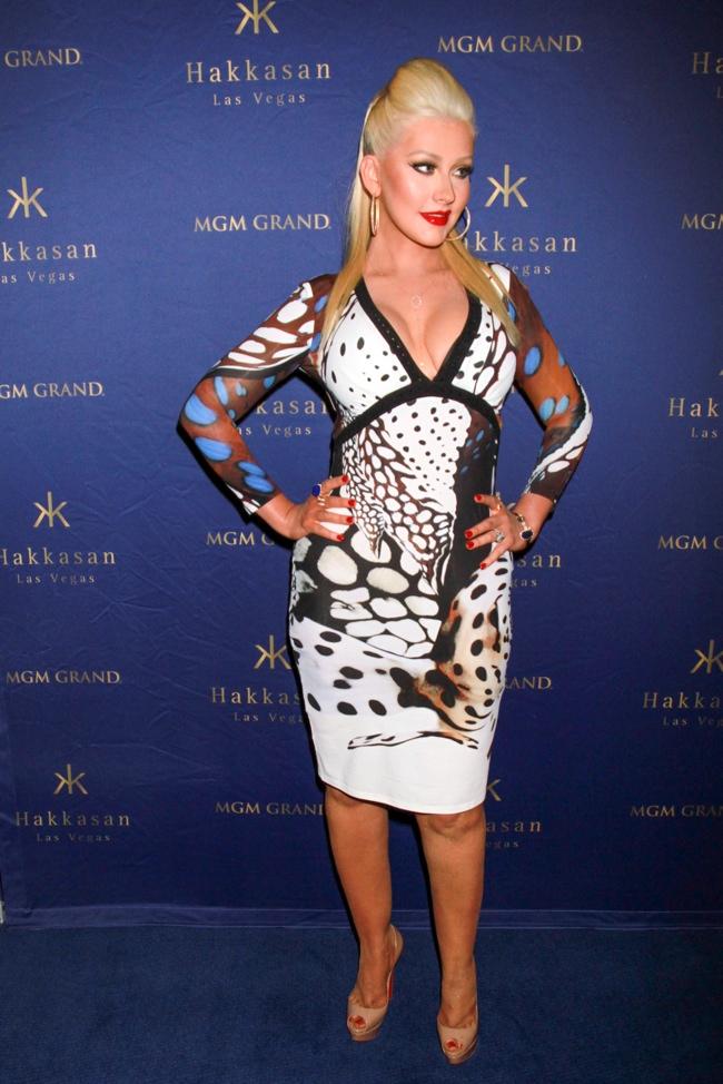 Christina Aguilera opted for a form-fitting Roberto Cavalli print dress at the Hakkasan Nightclub 2nd Anniversary Party. Photo: PRN / PRPhotos.com
