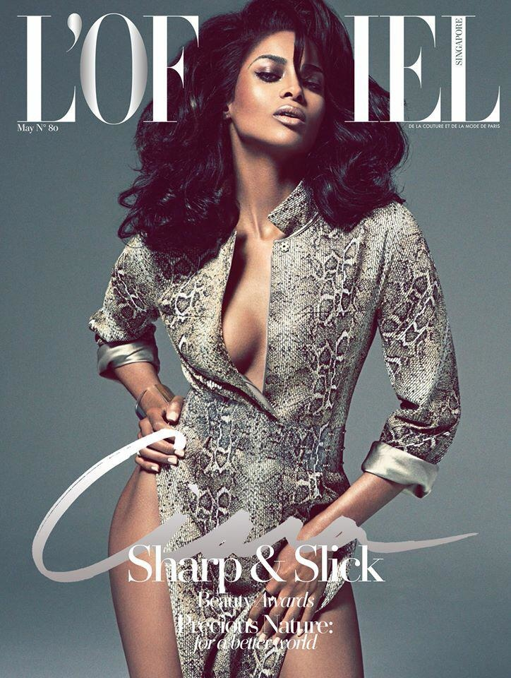 Ciara Flaunts Cleavage on L'Officiel Singapore Cover
