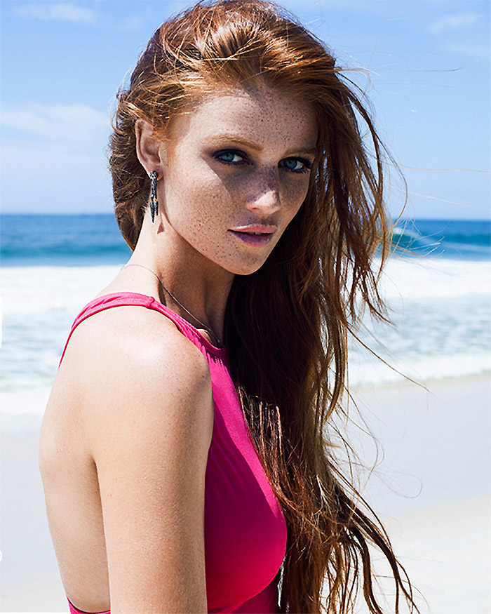 Redhead model Cintia Dicker has a face full of freckles. Photo: Cintia Dicker Swimwear