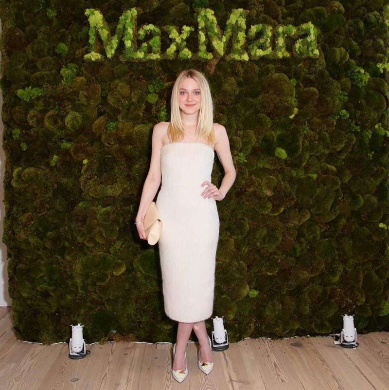 Dakota Fanning wears a white mohair Max Mara dress at Opening of Whitney Museum. Photo: BFA for Max Mara