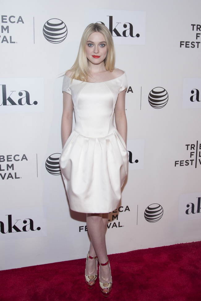 Dakota Fanning looked ethereal in a white Zac Posen dress at the Tribeca Film Festival Premeire of 'Fanny'. Photo: PRPhotos.com