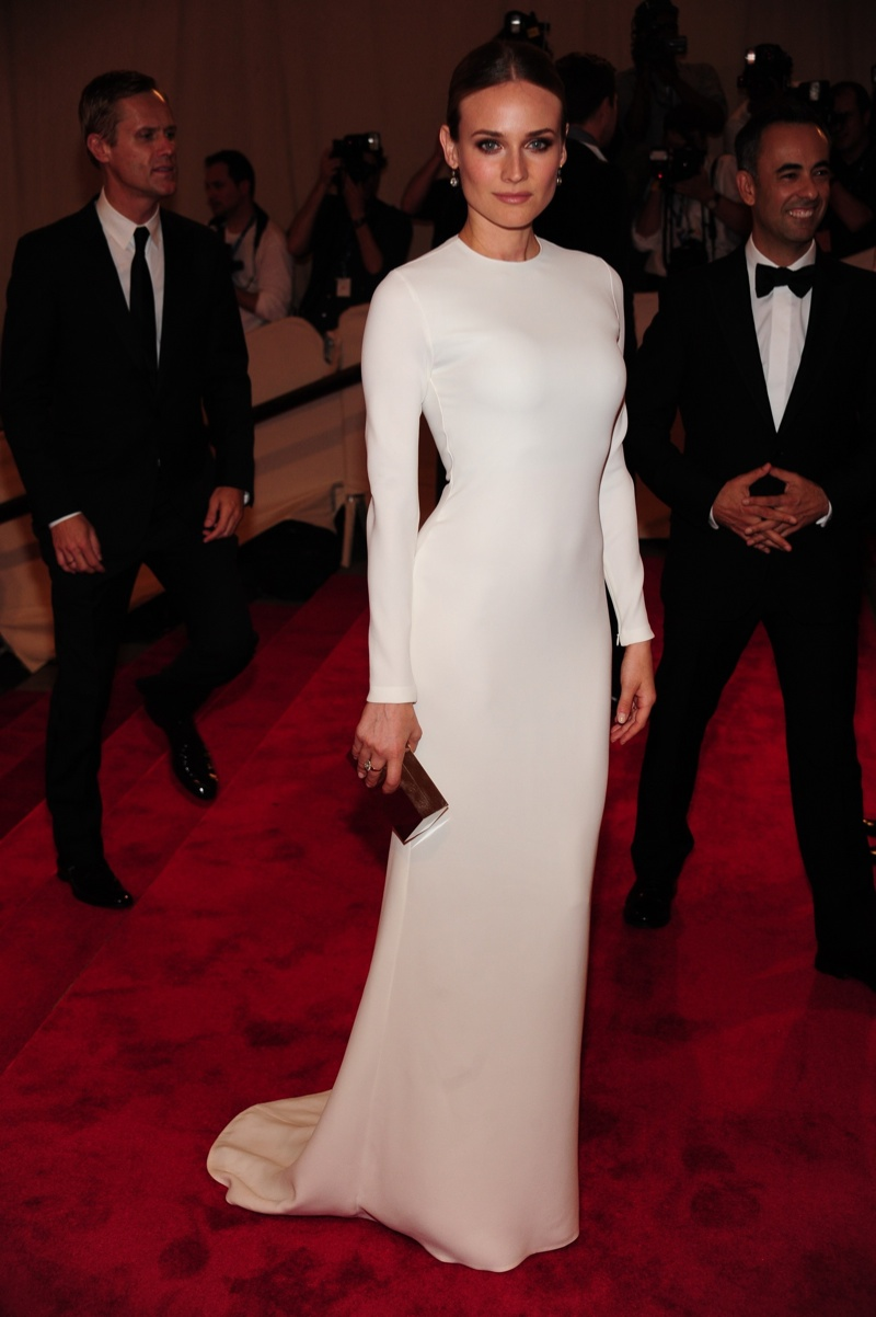 Diane Kruger made this simple Calvin Klein Collection dress look jaw-dropping at the 2010 Met Gala held in New York. The white long-sleeved gown will always be one of the best looks in recent memory. Photo: Everett Collection / Shutterstock.com