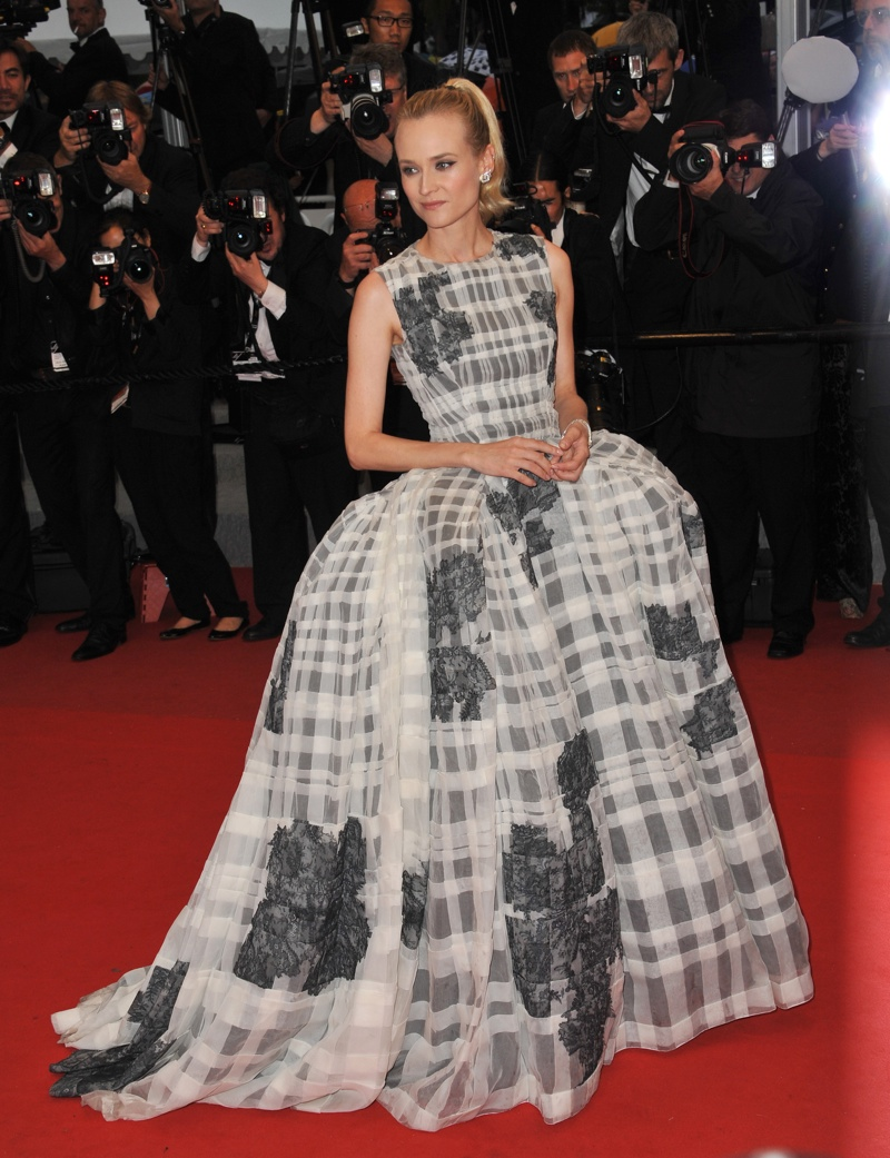 Actress Diane Kruger was a show-stopper in an organza and lace Dior Haute Couture gown from the French label's spring 2012 collection. Photo: Featureflash / Shutterstock.com