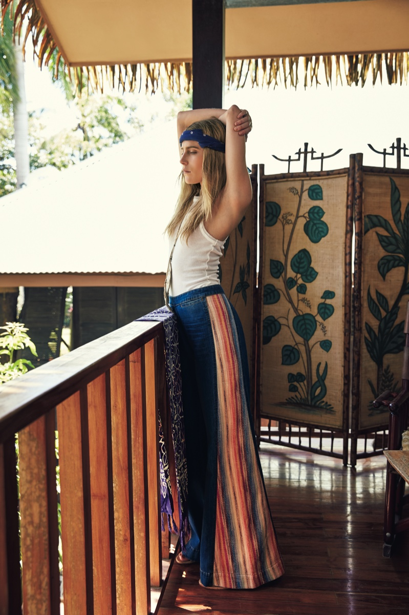 Dree wears a maxi skirt and white tank from Free People